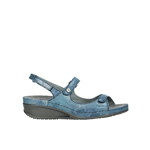 Wolky comodidad 00425 Shallow 60810 ocean caviar print leather
