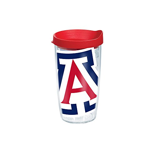 Tervis 1146818 Arizona University Colossal Wrap Individual Tumbler with Red lid, 16 oz, Clear