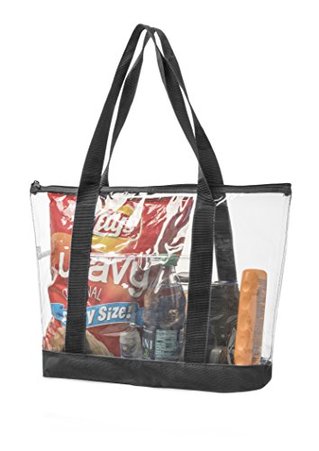 Clear Stadium Security Travel & Gym Zippered Tote Bag By Bags For Less – Sturdy PVC Construction, Black Trim, Full Zipper Top Gusset – Clear Front Pocket – Color Fabric Bottom & Long Handles Front Zipper Gusset Pocket