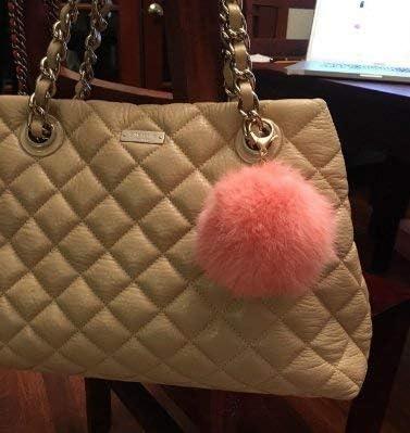 ccedee1888f7 Amazon.com   Miraclekoo Rabbit Fur Ball Pom Pom KeyChain Gold Plated ...