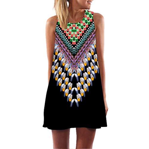 MOMOXI Vestido para Las Mujeres, Mini Vestido Corto Corto de Moda de la Vendimia de la impresión de la Playa del Verano…