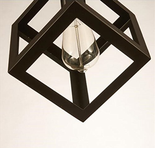 Square Hanging Lamp (Modern Industrial Pendant Light Metal Loft Shade Pendant Ceiling Light Retro Grometric Square Hanging Lamp)