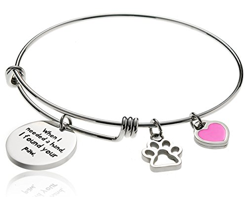 Borivilla Expandable Wire Bangle For Women Stainless Steel Inspirational Bracelet Cat Dog Paw Print Charms Bead Pet Lover Girl Gift