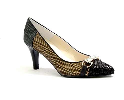 Women's and Ladies EYE Snake Print Leather Pointed Court Shoes with Jewel Embellishment Trim G 126 Black BDykG