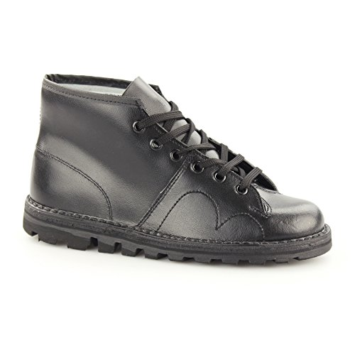 Roamer Men's Boys Original Monkey Boots Leather Black Coated Leather