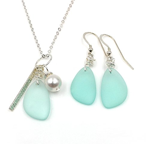 (Best Seller! Gift SET Sea Foam GREEN Sea Glass Earrings on Sterling Silver Hooks with Sea Glass, Swarovski Pearl, Silver Bar Charm Necklace on Sterling Silver Chain, Beautiful Gift)