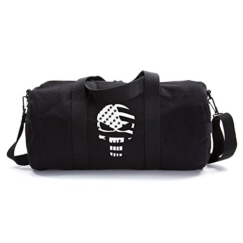 The Punisher Skull American Flag Vintage Army Duffel Sports Shoulder Bag, White on Black Canvas, Large