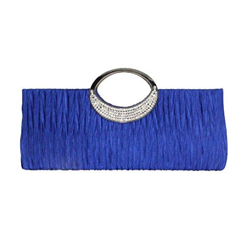 YJYdada Women Elegant Evening Wedding Purse Clutch Rhinestone Satin Pleated Handbag (Blue) Blue Satin Leopard