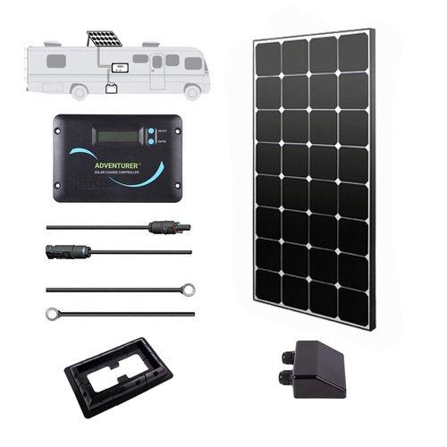 Renogy 100 Watt 12 Volt Monocrystalline Eclipse Solar RV Kit with 30A Adventurer Negative-Ground Charge Controller & Corner Bracket Mount