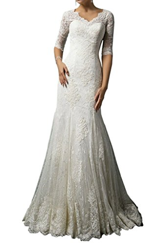 MILANO BRIDE Modest Wedding Dress for Bride Lace 1/2 Sleeves V-Neck Sheath-6-Light Ivory