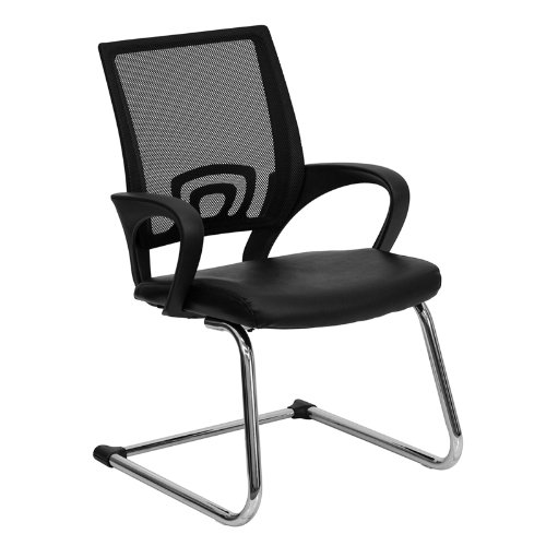Flash Furniture Black Mesh Side Reception Chair with Leather Seat and Sled Base - CP-D119A01-BK-GG by Flash Furniture