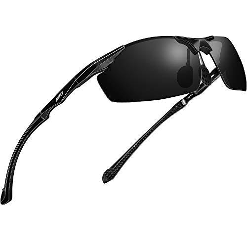 ATTCL Polarized UV Protection Sports Fishing Driving Sunglasses for Men Al-Mg Metal Frame Ultra Light 8585 Black