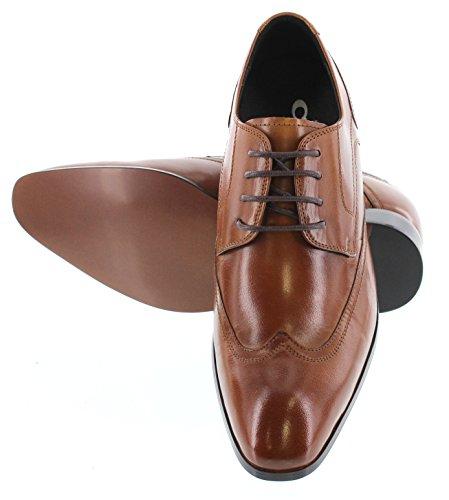 Calto Y4005-2,6 Pollici Taller - Scarpe Rialzanti Con Altezza Aumentata - Scarpe Eleganti Stringate Marroni