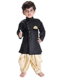 JBN Creation Boys' Black Cotton Blend Sherwani Style Kurta Set(VASBSW120GO)