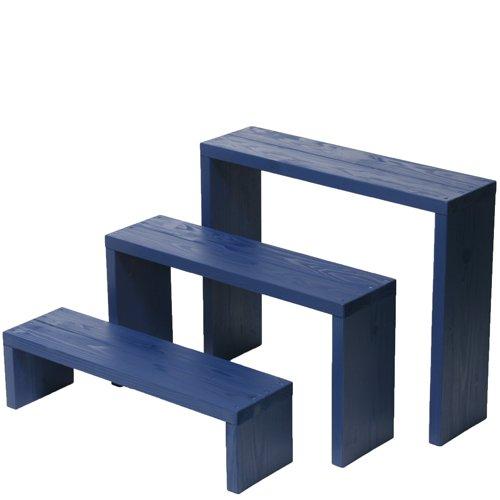 Welcome wood ウッドステージ66型 3段タイプ   色はガーデンブルー(GB)  【完成品】 組み立てる必要なし!! 個別に移動できるのでとっても便利!! B00FAY4BXI 66cm3段タイプ|GBガーデンブルー GBガーデンブルー 66cm3段タイプ