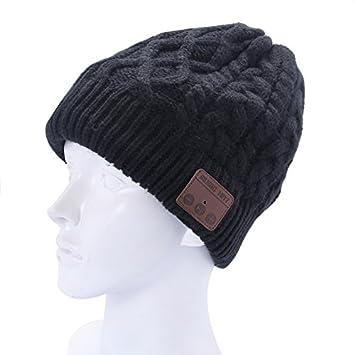750472a9ef0f Wewoo Bonnet Connecté Noir pour Garçon et Fille Adultes Ondulé Texturé  Tricoté Casque Bluetooth Chaud Hiver