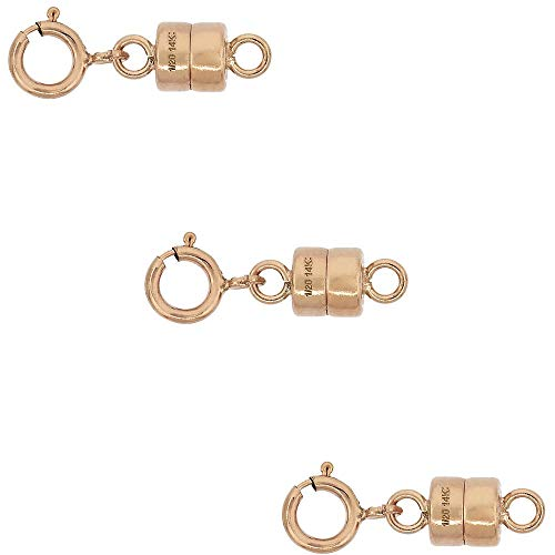 (3 Pack 14k Rose Gold-Filled 4 mm Magnetic Clasp Converter for Light Necklaces USA Square Edge 5.5mm SpringRing)
