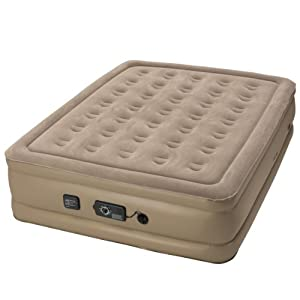 Insta Bed Queen Air Mattress With Never Flat Pump Beige