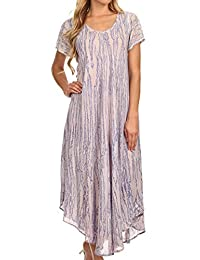 Sakkas Faye Cap Sleeved Rayon Caftan Cover Up Dress