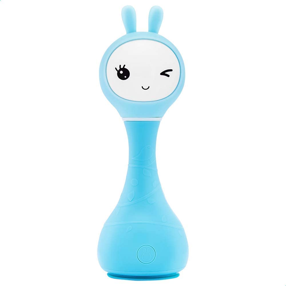 Best Baby Toys Shaker Alilo Bunny Infant Musical Toy Early Educational Toddler Learning Teether Newborn Baby Gifts for 0, 3, 6, 9, 12 Months Girl and Boy Blue Noise Maker Sleep Sound Machine