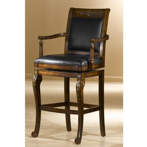 Hillsdale Furniture 61574 Douglas 49'' Leather Upholstered Wood Bar Stool with Gold Highlights and Wood Frame in Distressed