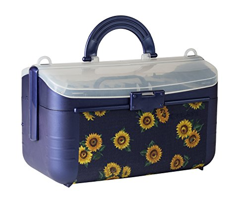Sewing Kit Storage Box Organizer - Blue Flower Basket, Transparent Lid, Handle, Snaps Closed - Many Sized Compartments - By Adolfo Design by Adolfo Design