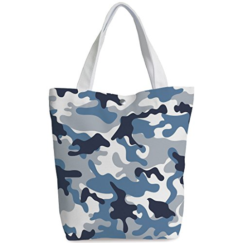 Canvas Shopping bag,shoulder handbags,Shoulder Bag,Camouflage,Army Theme Image with Abstract Soft Color Commando Navy Military War Decorative,Slate Blue Indigo Grey,Unique Durable Canvas Tote ()