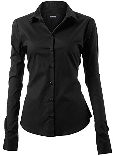 (Harrms Shirts for Women Slim Fit Stretchy Cotton Black Button Down Shirts Size 8)