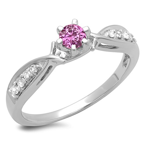 Gold Pink Sapphire Solitaire (10K White Gold Round Pink Sapphire & White Diamond Bridal Solitaire Engagement Ring (Size 5))