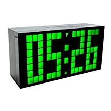 Purewill Green Big Jumbo LED Snooze Wall Desk Alarm Clock with Thermometer Indoor Saving Energy