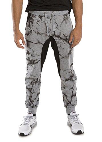 Vibes Gold Label Men Grey Fleece Marble Print Jogger Pant Drawstring Adult Male
