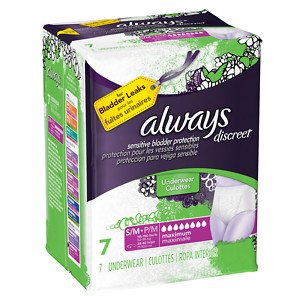 - Always Discreet Bladder Protection, Maximum Absorbency, Small/Medium, 7 Underwear(pack of 2)