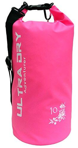 Premium Waterproof Bag, Sack with phone dry bag and Long Adjustable Shoulder Strap Included (pink, 10 L)