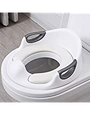 Potty Training Seat, Toddler Potty Seat for Toilet with Soft PU Cushion, Non-Slip and Splash Guard+Safe Handles, Potty Toilet Trainer for Boys and Girls (White)