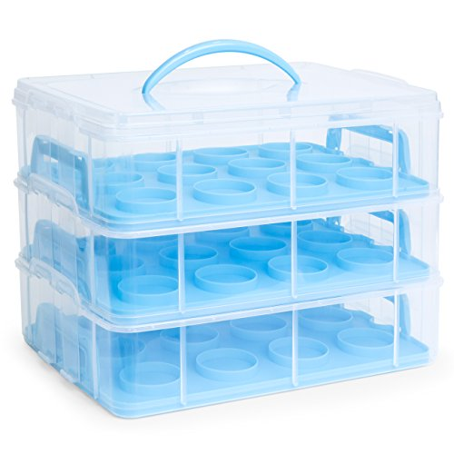 Best Choice Products 3-Tier BPA-Free Cake Cupcake Baked Goods Holder Storage Carrier Container for 36 Cupcakes w/Detachable Tiers, Locks, Handle - Blue