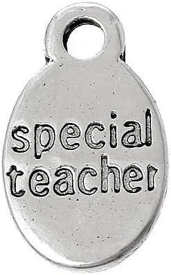 ZX05335 - Charming Beads Paquet 10 x Argent Antique Tib/étain 15mm Breloques Pendentif Special Teacher -