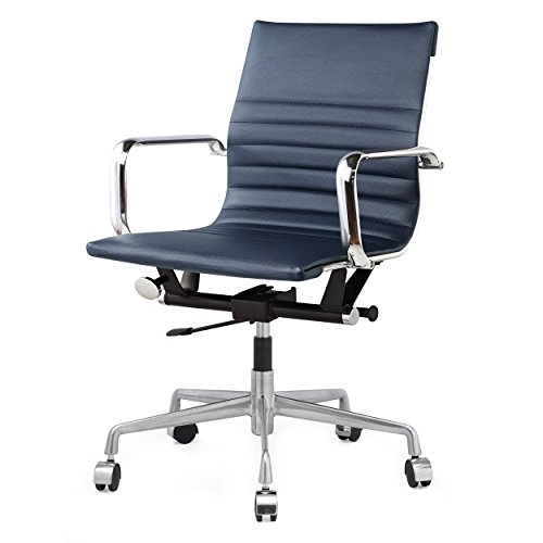 Meelano 348-NVY M348 Home Office Chair, 33.93″ x 23.4″ x 22.23″, Navy Blue