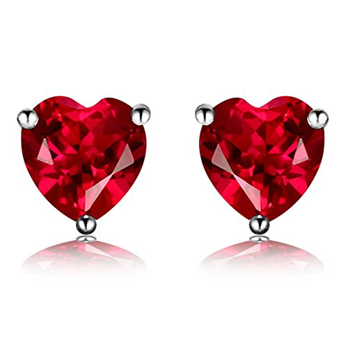 Navachi 925 Sterling Silver 18k White Gold Plated 3.0ct Heart Ruby Az9132e Stud Earrings (Mens Ruby)