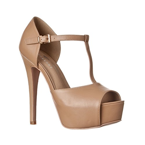 Riverberry Women's Abby Peep Toe Platform T-Strap High Heel Pump, Taupe PU, 8.5
