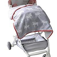 Outdoor Waterproof /Windproof Baby Blanket, Lightweight and Water-Resistant Camping Blanket Plush & Warm Fleece Sherpa Throws Backing Elk Printed 30 x 28 Inch, Gray