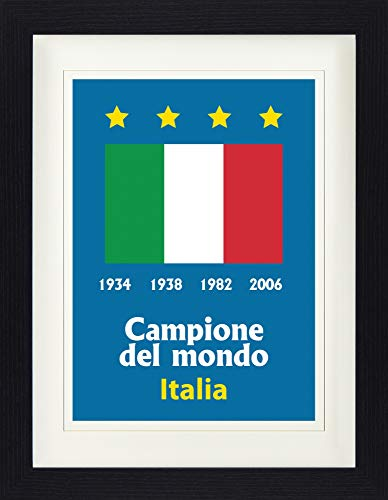 Champions Italy Cup World - Football Framed Collector Poster - Italy World Cup Champion 1934 1938 1982 2006 (16 x 12 inches)