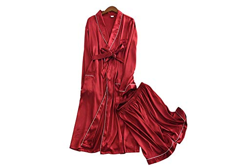 nbsp; Mangas Red nbsp;conjunto Pijamas Pantalones Finos Largas nbsp; nbsp;bordados Para Sueltos Shorts Casera Seda Hombres Camisón Y Mmllse De qgtdTtw7