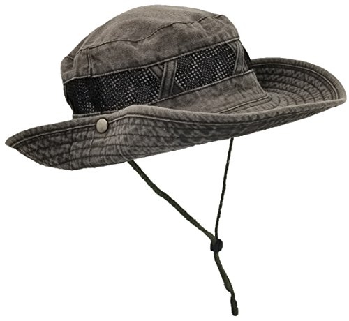 Outdoor Summer Boonie Hat for Hiking, Camping, Fishing, Operator Floppy Military Camo Sun Cap for Men Or Women (Charcoal Gray (Mesh Strip), 1 Pack)