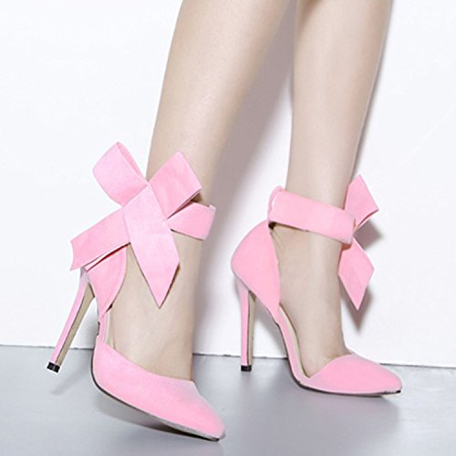 Bow Pumps Pointed High Velcro Heel Women's Green D2C Stiletto Toe Elegant Beauty RpqtvwvH