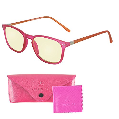 Computer Lens Glasses - Yellow Tinted Lenses with Blue Anti Reflective Coating to Reduce Eye Strain and Screen and Monitor Glare - Bonus Case and Cleaning Cloth - Crystal Pink - Fashionable Computer Glasses