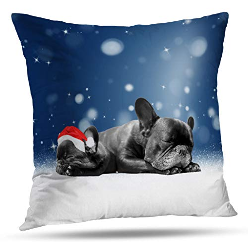 Santa Bulldogs Pillow (Darkchocl Set of 2 Daily Decoration Throw Pillow Covers Christmas French Bulldog Puppies Snow Santa Hat Square Pillowcase Cushion Couch Sofa Bed Modern Design Cotton Polyester 18