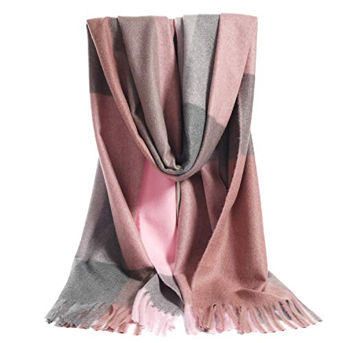 LERDU Women's Cashmere Pink Grey Tartan Shawl Wraps Gift Box Wrapped Large Winter Pashmina Stole Scarf for Ladies