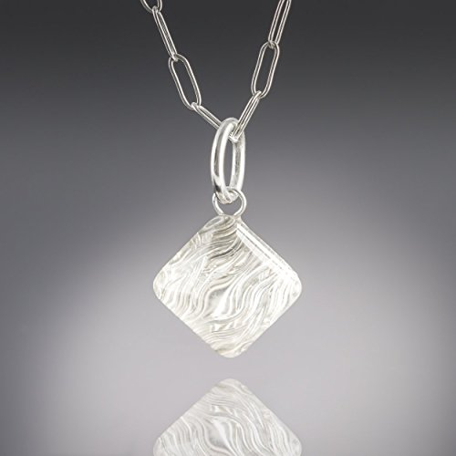 "Silver Woven Metal and Glass Modern Pyramid Shape Geometric 18"" Pendant (Glass Textured Sterling Silver Necklace)"