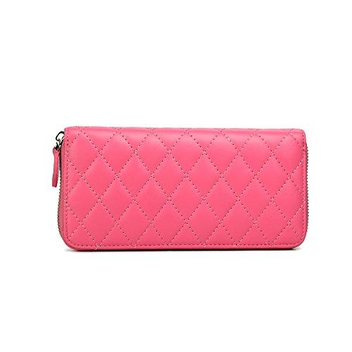 Fineplus Classic Lattice Texture Sheepskin Wallets For Women Black Buyb453-5