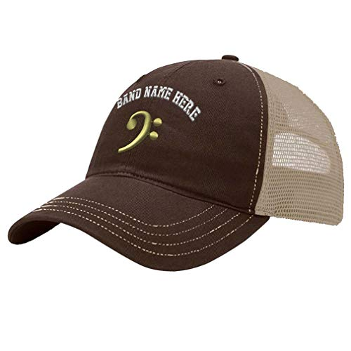 - Custom Trucker Hat Richardson Black Bass Clef Gold Embroidery Band Name Cotton Soft Mesh Cap Snaps - Brown/Khaki, Personalized Text Here